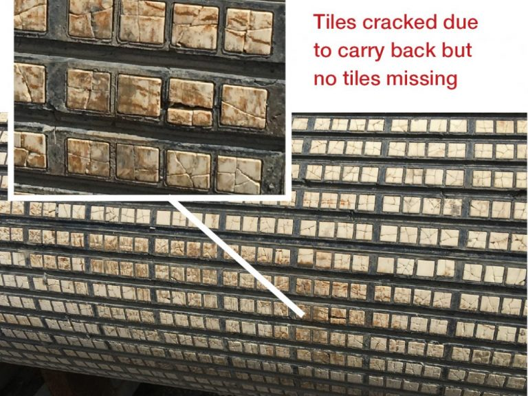 Tiles cracked due to carry back but no tiles missing