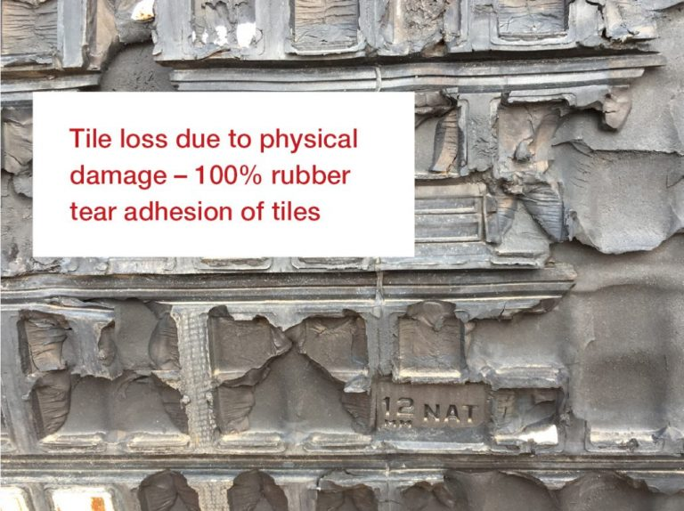Tile loss due to physical damage