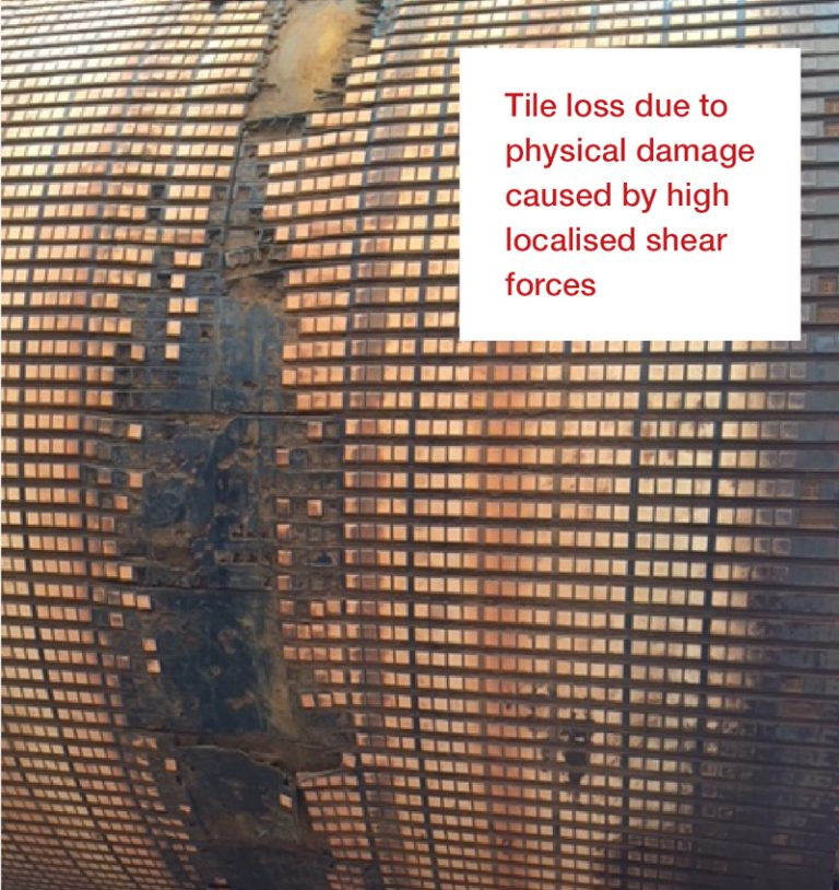 Tile loss due to physical damage caused by high localised shear forces